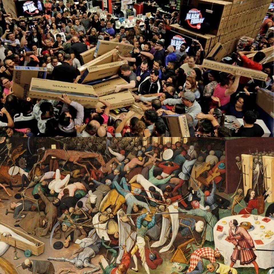 In alto: ressa al Black Friday.<br />In basso: ressa in un quadro di Bruegel.