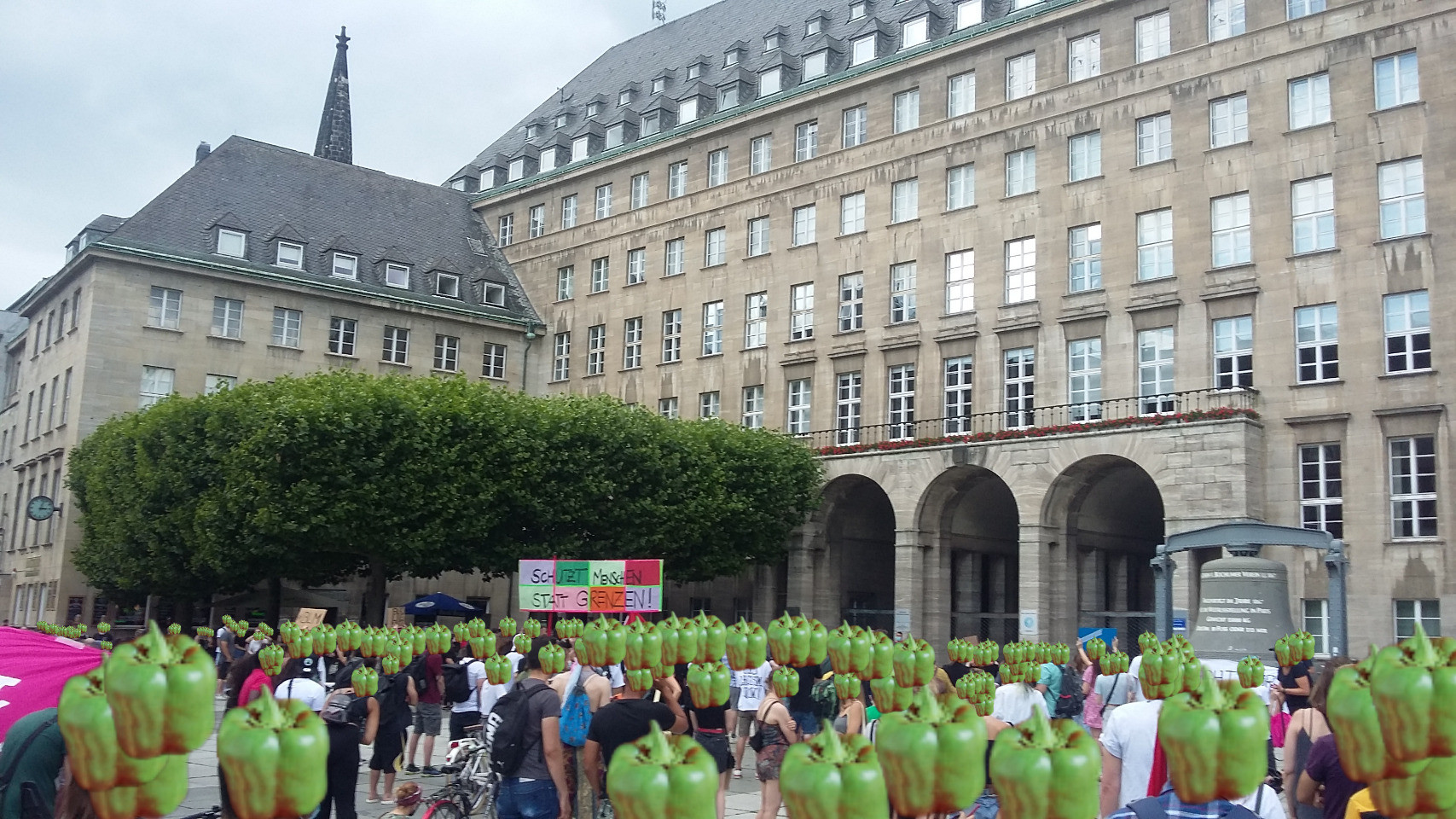 black lives matter in Germany where anybody's head is replaced with a green paprika
